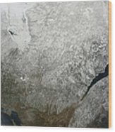 Satellite View Of Eastern Canada Wood Print