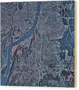 Satellite View Of Little Rock, Arkansas Wood Print