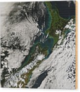 Satellite View Of New Zealand Wood Print