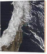 Satellite View Of Northeast Japan Wood Print by Stocktrek Images