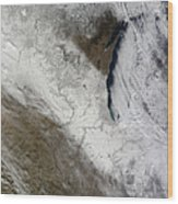 Satellite View Of Snow And Cold Wood Print