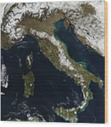 Satellite View Of Snow In Italy Wood Print