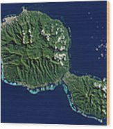 Satellite View Of Tahiti Wood Print