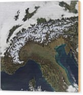 Satellite View Of The Alps Wood Print by Stocktrek Images