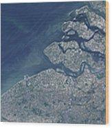 Satellite View Of The Belgium Coastline Wood Print