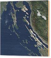 Satellite View Of The Croatian Islands Wood Print