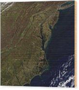 Satellite View Of The Mid-atlantic Wood Print