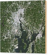Satellite View Of The Pawtucket Wood Print