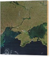 Satellite View Of The Ukraine Coast Wood Print by Stocktrek Images