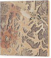 Satellite View Of Wadi Rum Wood Print