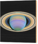 Saturn, Ultraviolet Hst Image Wood Print