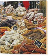Sausages For Sale Wood Print