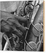 Saxophone Plaayer Wood Print