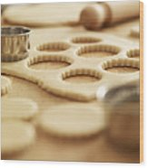 Scalloped Cookie Cutters And Sugar Cookie Dough Wood Print