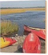 Scarborough Marsh Kayaks Maine Wood Print