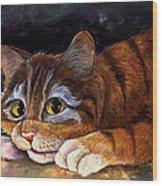 Scaredy Cat Wood Print