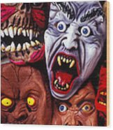 Scary Halloween Masks Wood Print
