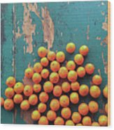 Scattered Tangerines Wood Print