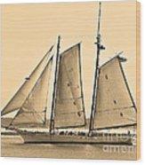 Scenic Schooner - Sepia Wood Print