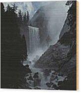Scenic View Of Vernal Fall Wood Print