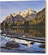 Schaffer Lake And Mount Huber Wood Print