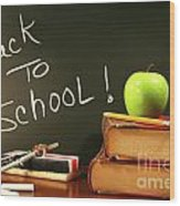 School Books With Apple On Desk Wood Print by Sandra Cunningham