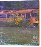 School Bus Out To Pasture Wood Print by Judi Bagwell