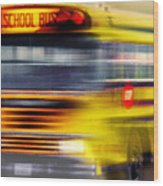 School Bus Rush Wood Print