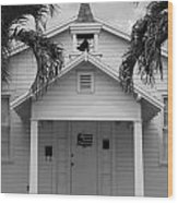 School House In Black And White Wood Print