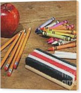 School Supplies  Wood Print