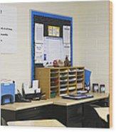School Teachers Desk Wood Print