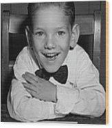 Schoolboy At Desk Wood Print