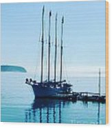Schooner At Dock Bar Harbor Me Wood Print