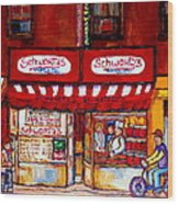 Schwartz's Deli-montreal Street Scenes-painting-by  Quebec Artist-carole Spandau Wood Print