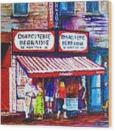 Schwartz's Deli With Lady In Green Dress Wood Print