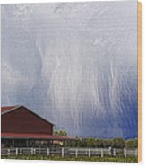 Scifi Storm And Red Barn Wood Print