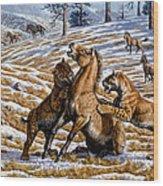 Scimitar Cats Attacking A Horse Wood Print