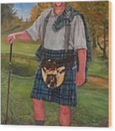 Scottish Golfer Wood Print by Phyllis Barrett