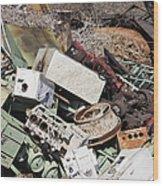 Scrap Metal In Scrap Yard Wood Print by Jeremy Woodhouse