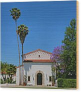 Scripps College Grounds Wood Print