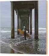 Scripps Pier Surfer 2 Wood Print by Bob Christopher