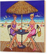 Sea For Two - Girlfriends At Beach Wood Print