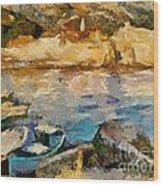 Sea Front On Mediterranean Sea Wood Print