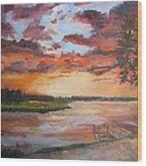 Sea Island Sunset Wood Print