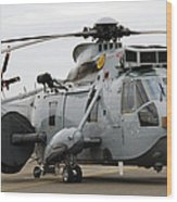 Sea King Helicopter Of The Royal Navy Wood Print by Luc De Jaeger