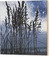 Sea Oats On Tybee Wood Print by Leslie Revels Andrews