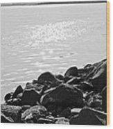 Sea Of Galilee In Black And White Wood Print