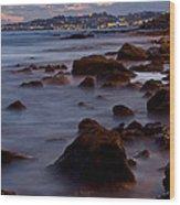 Sea Rocks Land Wood Print