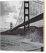 Sea Spray Under The Golden Gate Bridge Wood Print