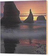 Sea Stacks Off The Oregon Coast Wood Print